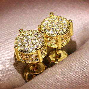 NEW 18K Yellow Gold Diamond All Around Earrings
